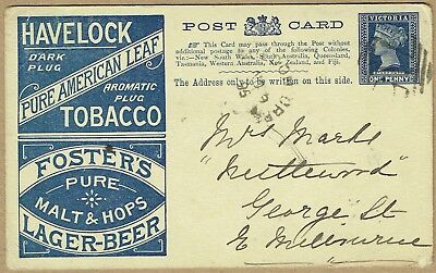 Victoria Stationery 1895 Tobacco / Beer Postal card used '715' Barred Numeral