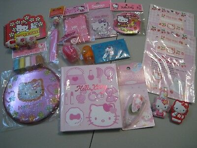 Sanrio Hello Kitty Huge Stationary Lot - 19 items Notebook Clips Stamps Tape