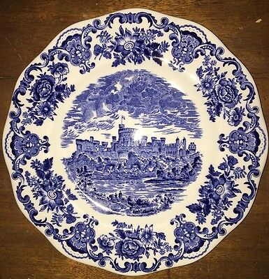 English Tableware By Unicorn Staffordshire England Blue \u0026 White Scalloped edge & UNICORN Tableware Blue White WINDSOR CASTLE Plate Coaster England 4 ...