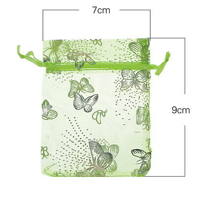 100 PCS! Butterfly Green Organza Jewelry Gift Bags Wedding Favor 7cmx9cm