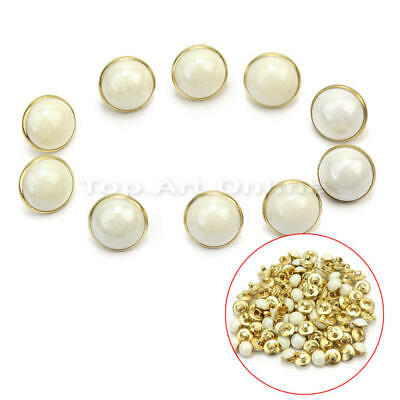 100 Pcs White Faux Pearl Shank Buttons 10mm Sewing Embellishments Crafts