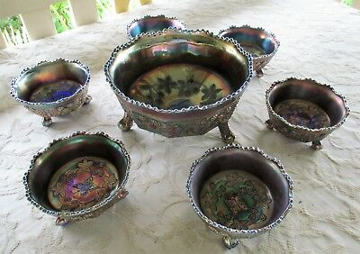 Butterfly & Berry Seven Piece Footed Set Fenton Blue Amethyst Carnival Glass