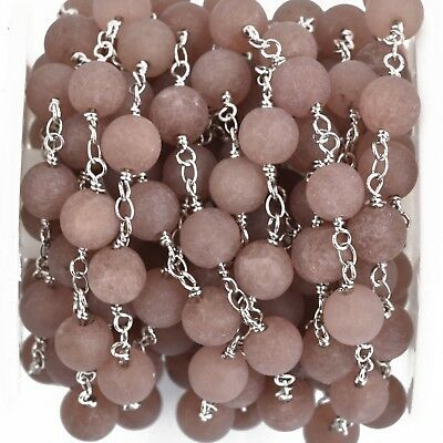 13ft Matte PLUM JADE Gemstone Rosary Chain SILVER double wrap 8mm fch0879b