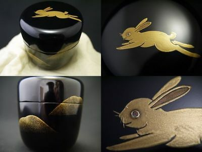 Japanese Traditional Lacquer Wooden Tea caddy a Hare makie Chu-Natsume (209)