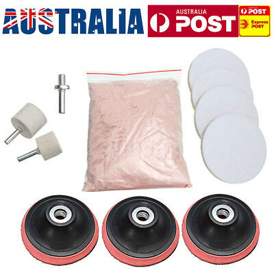 AU 8 OZ Glass Cerium Oxide Powder + 3'' Wheel +Felt Scrach Removal Polishing Kit