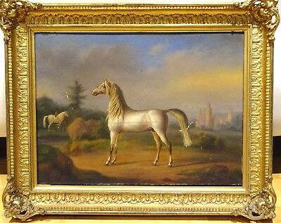 18th Century French School Old Master White Horse Portrait Antique Oil Painting