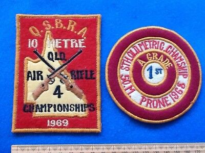 RARE 1960's Patches / Badges (2) GUN CLUB SHOOTING RIFLE Qld  ... FREE POST