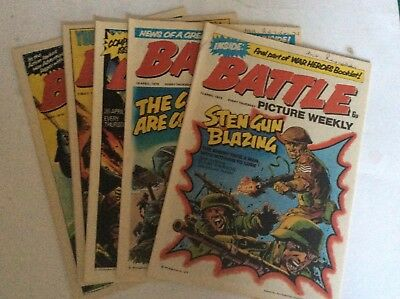 Battle Picture Weekly Comics Issue #6 - #10 12April to 10May 1975 near Mint