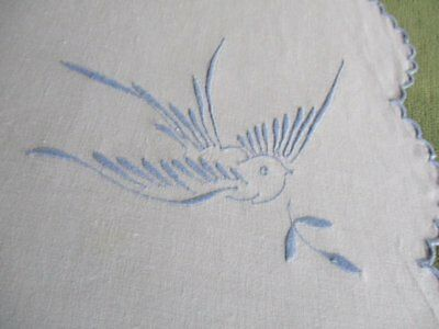 ANTIQUE TABLECLOTH - EMBROIDERED with BLUE BIRDS - 100% cotton