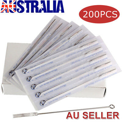 200PCS Sterile Tattoo Needles Kit Steel Round Liner Shader Varied Sizes Supplies