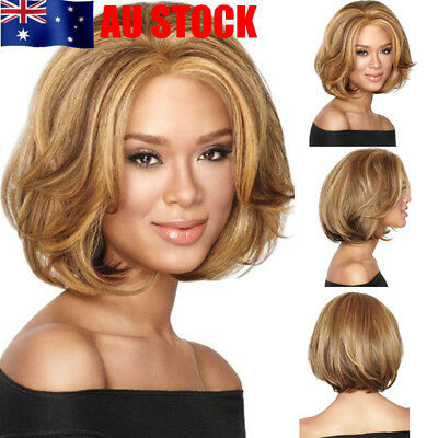Women Make Up Light Brown Short Ladies Curly Wavy Full Hair Wigs Cosplay Costume