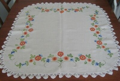 Vintage Hand Embroidered Supper Cloth ~ Crocheted Lace Edge ~ Linen ~ Square
