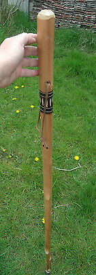 Farmer Thick Solid Wood Walking Stick Staff Handle With Carved Detail End Metal