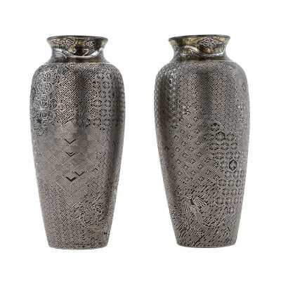 ANTIQUE JAPANESE SILVER & IRON VASES, COMPLEX INLAY (A PAIR) MEIJI PERIOD 19th C