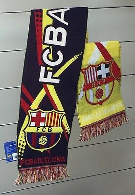 Original Official FC Barcelona Scarf 100% Acrylic with Tag Blue Yellow 140x20cm