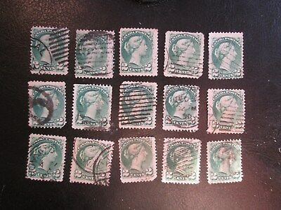 30 Used Copies Of Canada Scott No. 36 Two Cent Small Queen Stamps