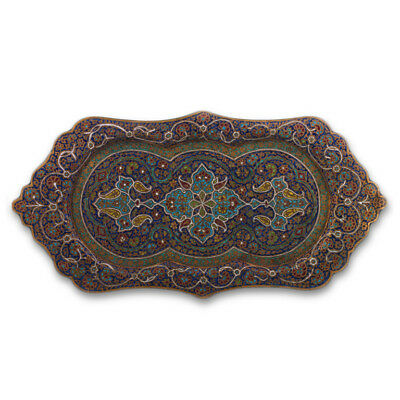 Antique Indian Enameled Brass Tray, Large Size, Kashmir – Late 19Th Century