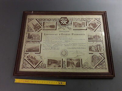 antique frame wooden vintage Certificate studies Primary french antique frame