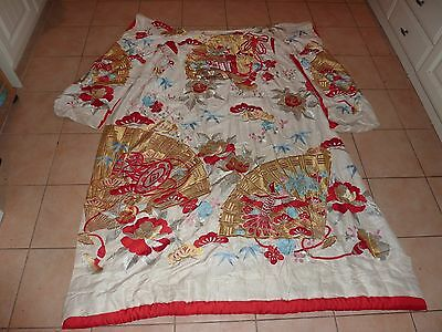 Vintage Japanese Textile Silk&embroidery Kimono With Red/gold/silver/blue Colour