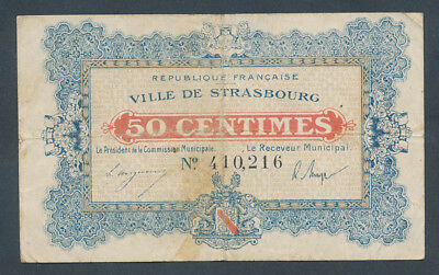 France: LOCAL ISSUES WWI Ville de Strasbourg 11-11-1918 50 Centimes Very Fine