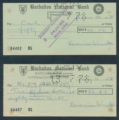 Barbados: 1978 Barbados National Bank - 2 Issued Cheques with Printed Duty Stamp