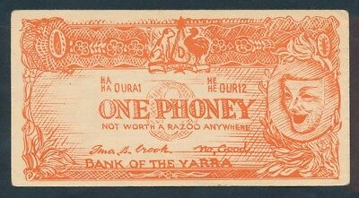 "Australia: 1950s Bank of the Yarra ONE PHONEY Political ""Funny Money"" RARE"