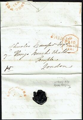 1841 EL Tunbridge Wells Kent to London red thin type PAID 1D