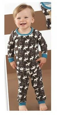 NEW Mud Pie Forest Friends Collection Boys Holiday Moose Pajamas PJs Set Size 3T