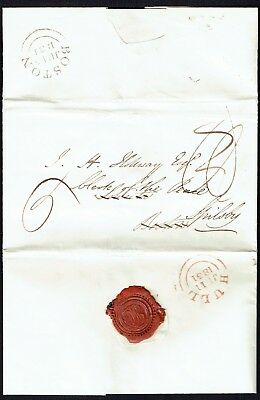 1831 Hull Yorkshire - Boston redirected to Spilsby Lincolnshire fine red HULL ds