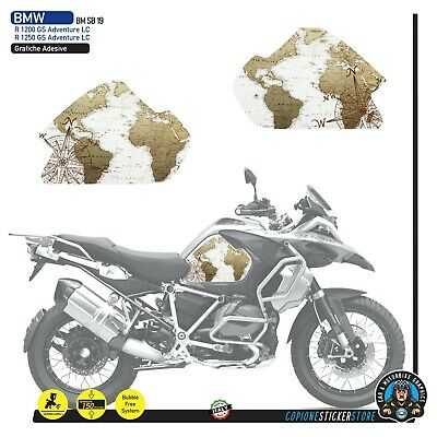 2 Adesivi Fianco Serbatoio Moto BMW R 1200 gs adventure LC 2018 world map old