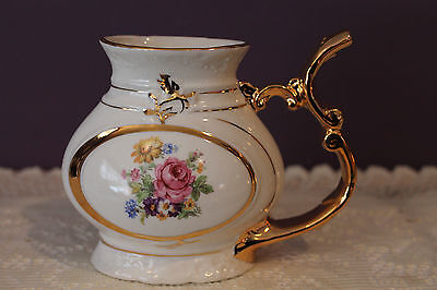 Vintage Floral Porcelain Sipping Cup - Made In Czechoslovakia - Gold Trim