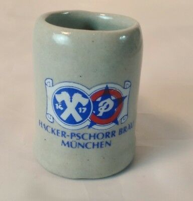 HACKER PSCHORR BRAU Munchen Miniature Beer Stein Mug stoneware Munich Germany