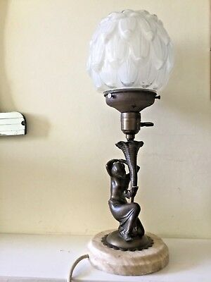 Original Art Deco Bronze Lady Figure Table Lamp and Shade