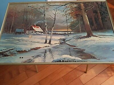 vintage foldable tv table from 1960's. Beautiful nature scene on table top.