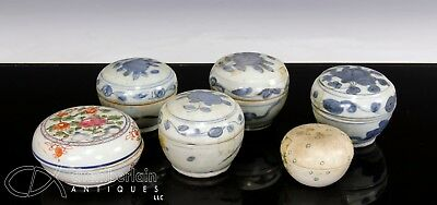 Group Of 6 Antique Chinese Porcelain Covered Boxes - Ming