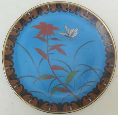 Vintage Chinese Cloisonne Dish - Flower & Butterfly Decoration
