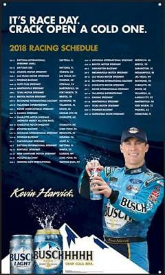 """2018 Busch Nascar Schedule Banner 24"""" x 40"""" - Get them before they are gone!!!"""