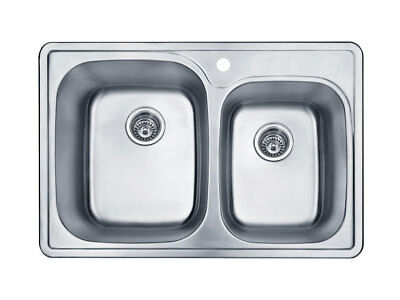 18 Gauge Stainless Steel 1-Hole Topmount 60/40 Double Bowl Sink (Unbranded)
