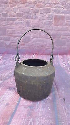 Antique Vintage Cast Iron Cooking Pot Cauldron Camping Romany Gypsy Handle
