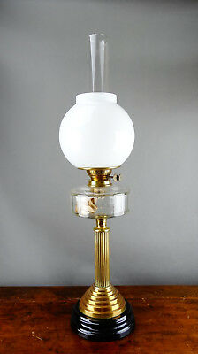 Antique Victorian Brass Oil Lamp Kerosene with Milk Glass Shade & Chimney