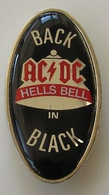 AC/DC HELLS BELLS BACK IN BLACK VINTAGE METAL PIN BADGE FROM THE 1980's