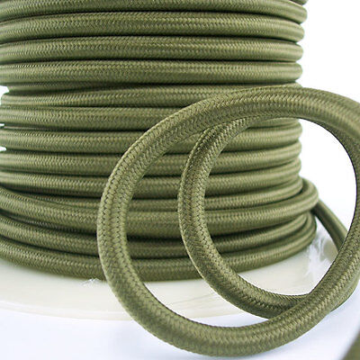 Olive Green Round Pulley Cord - 3-Wire Pendants - Lamps - Antique Vintage Fans