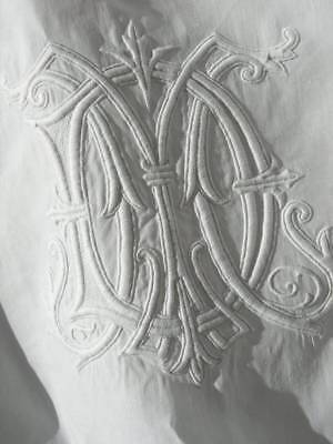 Pair (2) exquisite hand embroidered antique French linen pillow shams cases