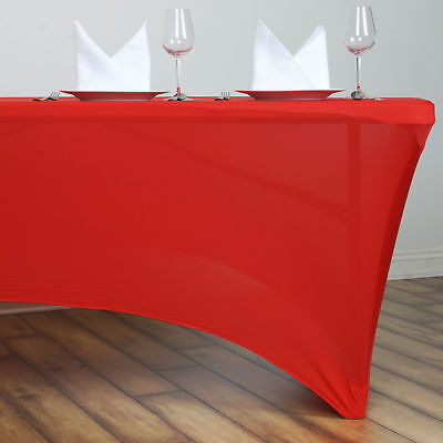 Red 6 ft RECTANGLE SPANDEX STRETCH TABLE COVER Fitted Tablecloth Wedding Party