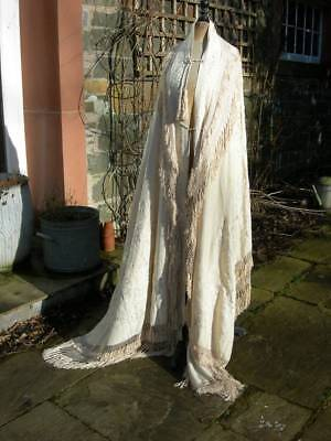 Exquisite, rare 19thC hand embroidered Canton bustle visite shawl mantle