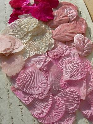 Collection 76 vintage French 1920s millinery / costume silk velvet flower petals