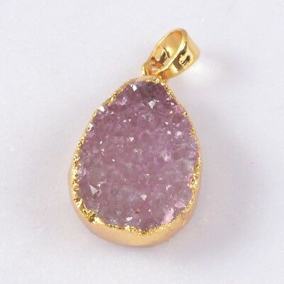 Uneven Pink Agate Druzy Geode Pendant Bead Gold Plated H109644