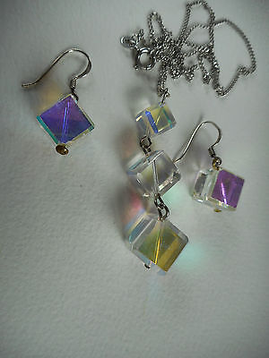 Vintage sterling silver AB crystal cube glass earrings and pendant on chain set