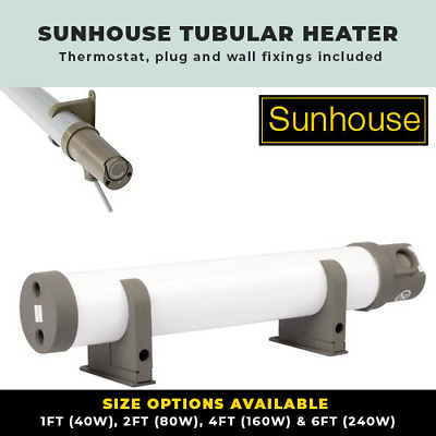 Sunhouse Tubular Heaters Low Energy Electric Tube Heater 1Ft-6Ft Inc Thermostat
