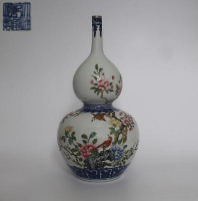 Exquisite Old Chinese Famille Rose Porcelain Gourd Vase Qianlong Marked (103)